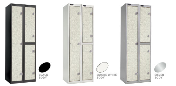 White Locker Doors with Black, Silver or Smoke White Carcase colour options.